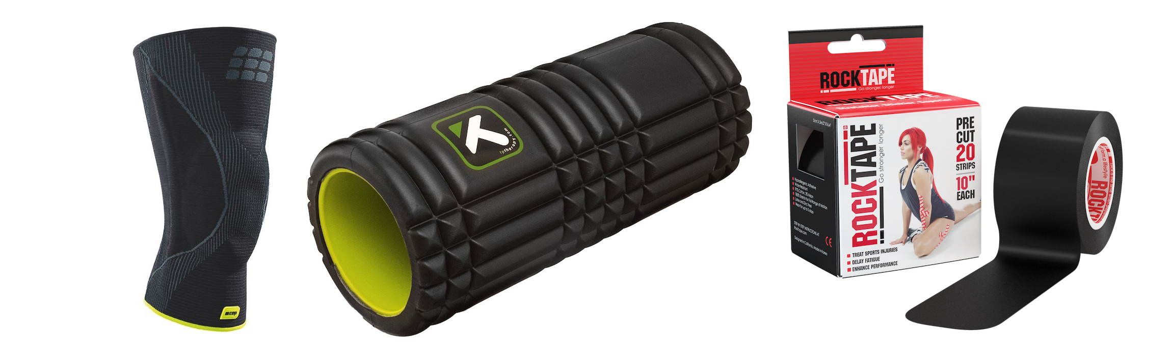 rock tape foam  roller and knee brace
